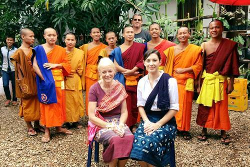 Volunteer Teaching Monks in Laos