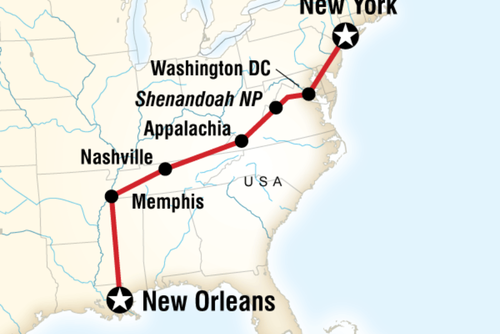 New York City to New Orleans Overland
