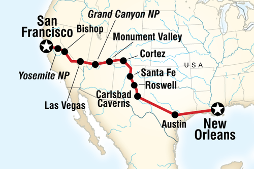 New Orleans to San Francisco Overland