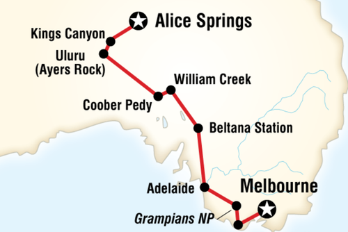 Alice Springs to Melbourne Overland