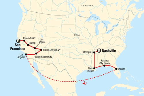 Best of the US Express – Nashville to San Francisco