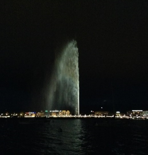 Lake Geneva Water Fountain Night