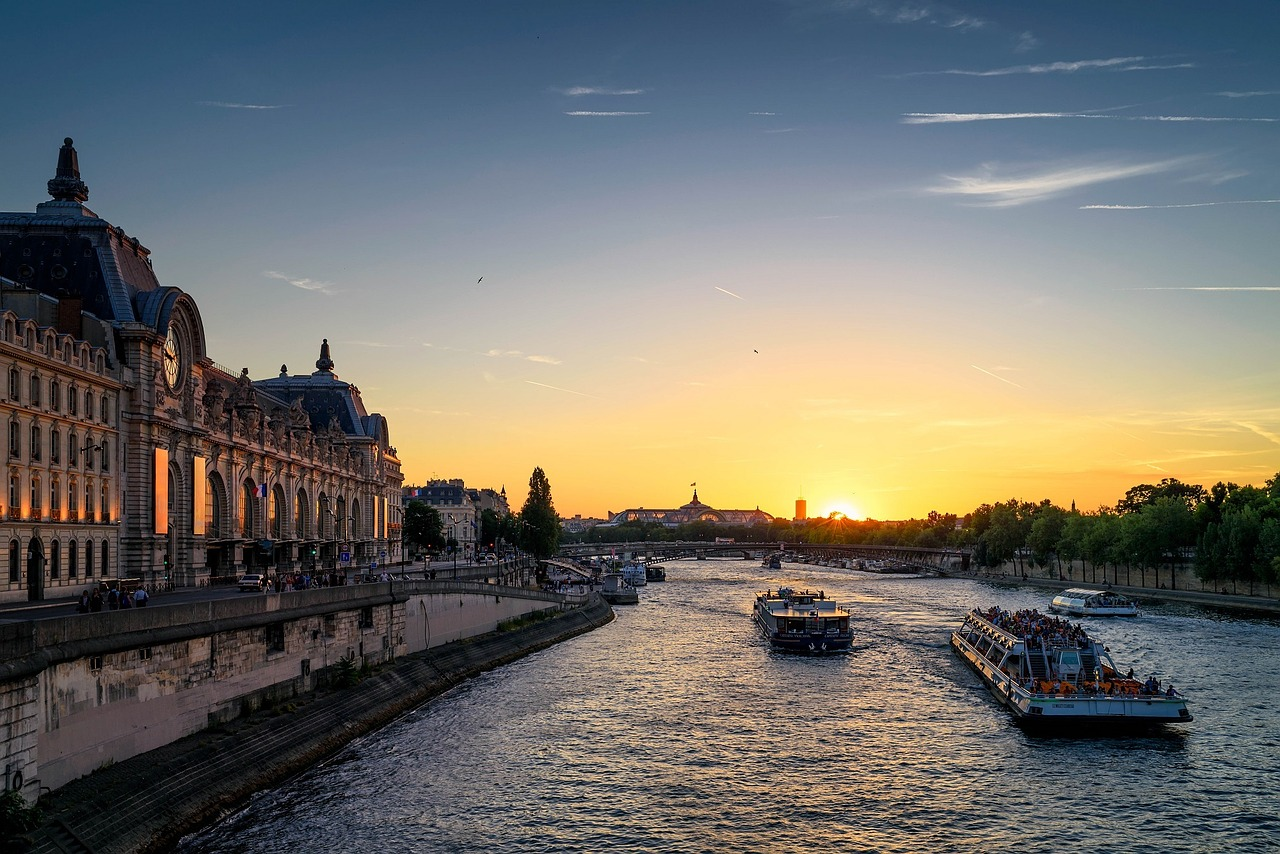 Seine river Paris evening sunset