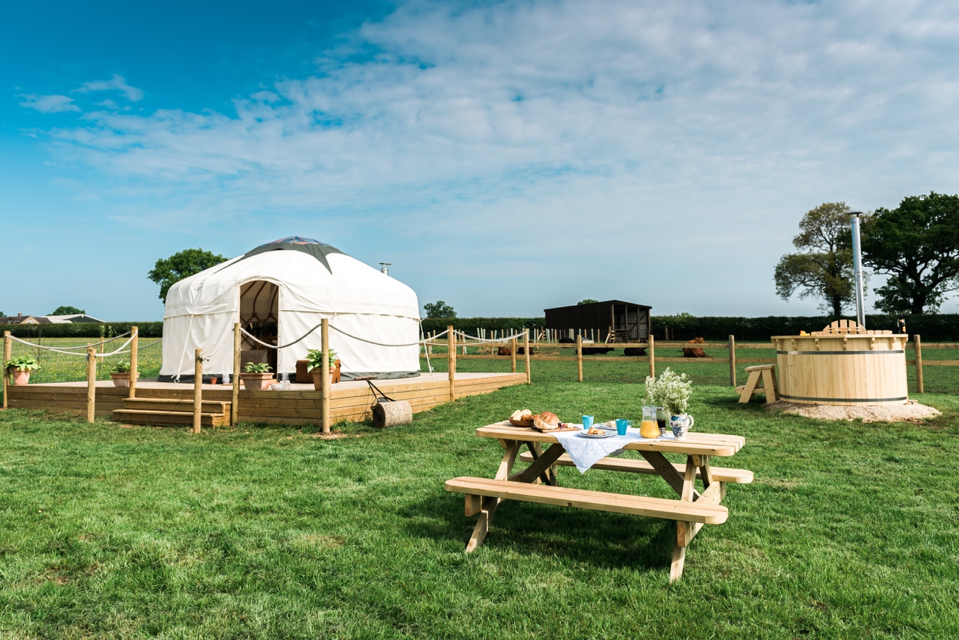 Yurt in a field, available from Quality Unearthed